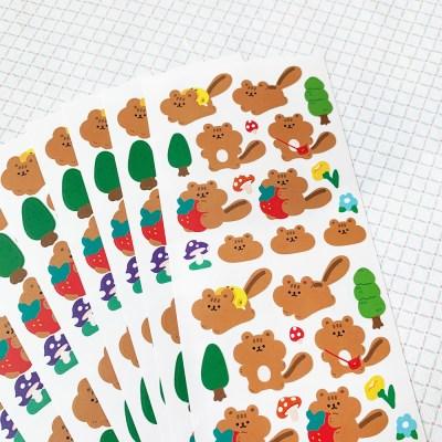 [스튜디오 퐁듀] picnic chipmunk 소풍 다람쥐 씰스티커