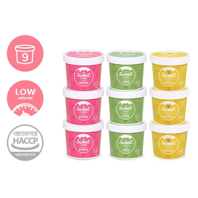 칼로리 걱정없는 달콤아이스크림 스윗랜드 9개 (딸기+녹차+단호박)