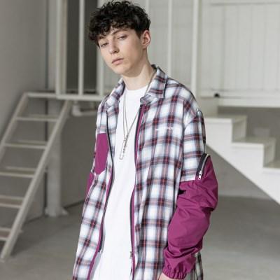 매스노운 SL 로고 체크 섹션 포켓 셔츠 MSZST001-WN
