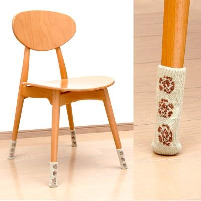 [LEC] 논슬립 니트 의자다리커버 8P(플라워) [O-631]