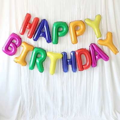 은박풍선 커튼세트 (HAPPY BIRTHDAY) 크레파스