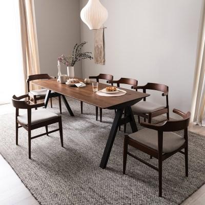 잉글랜더 크레타 고무나무 원목 6인용 식탁세트 의자6_(12665528)