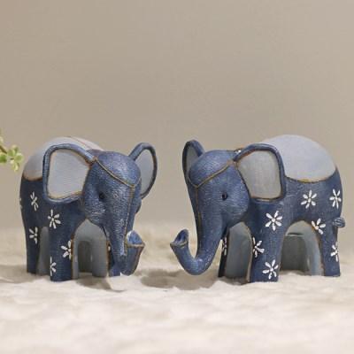 (단품1p)블루 데님 코끼리장식품 풍수인테리어장식품 개업선물
