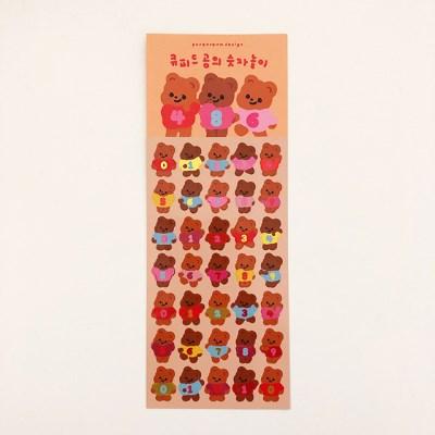큐피드곰의 숫자놀이 광택 스티커