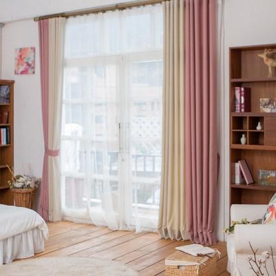 다빈치 투톤 디자인커튼 핑크+아이보리_(1305118)