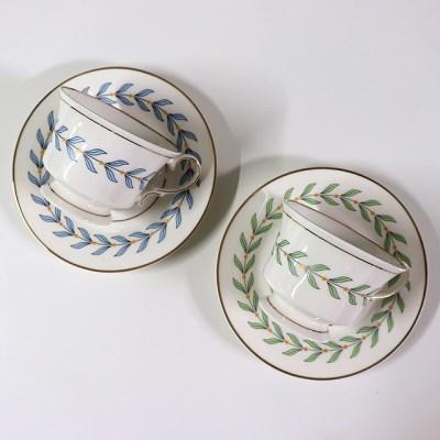 골드라인 나뭇잎 커피잔 찻잔세트 ( 블루로렐 / 그린우드 )