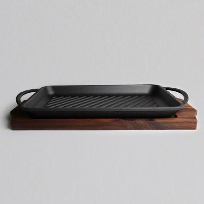 CLASSIC CAST IRON 무쇠 통주물 사각33cm 나무판포함