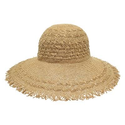 [플릭앤플록]IAP05.술장식 밀짚 여성 큰챙 비치 모자