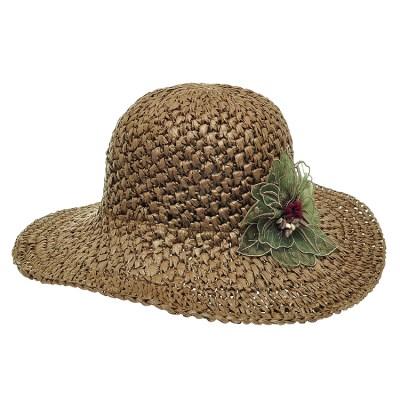 [플릭앤플록]IAP02.쉬폰꽃 밀짚 여성 큰챙 여름 모자