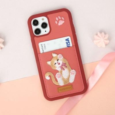 아이폰/갤럭시/갤럭시노트 고양이 자수포켓카드케이스_(1207177)
