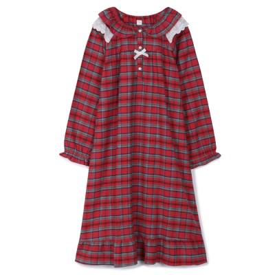 [SALE] 알콩단잠 여성 원피스잠옷 크림슨 기모플란넬 긴팔 실내복 홈