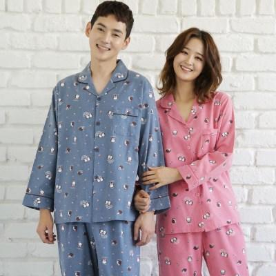 [SALE] 알콩단잠 커플잠옷 이글루 기모플란넬 긴팔 파자마 홈웨어 (