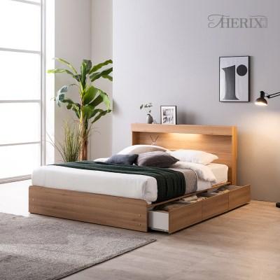 디칸토 LED 조명 원룸 수납 침대프레임 퀸(Q)