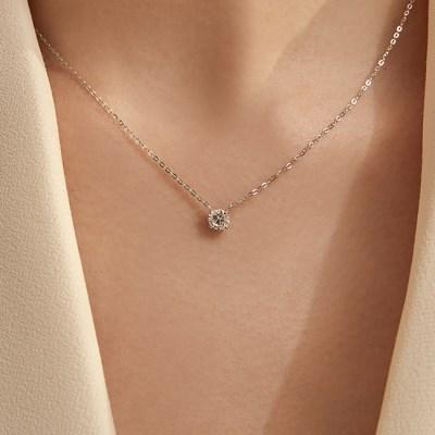 0.5 Carat Diamond Simulant Necklace (14K Gold) L DIA 03
