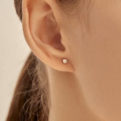 0.1 Carat Diamond Simulant Earrings (14K Gold) L DIA 02
