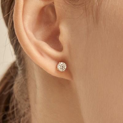 0.5 Carat Diamond Simulant Earrings (14K Gold) L DIA 01