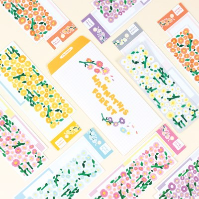워너디숲의 데이지 스티커 6가지 컬러 세트