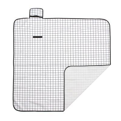 모던체크 방수돗자리(150x150cm) (화이트+블랙)