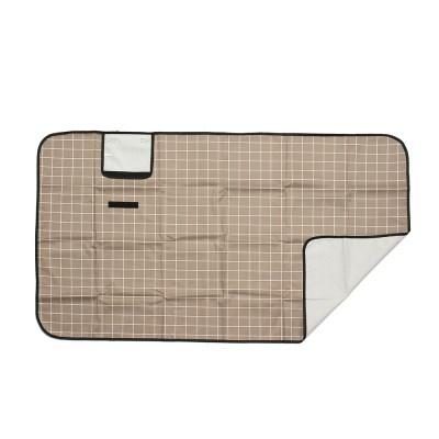 모던체크 방수돗자리(150x80cm) (브라운+화이트)