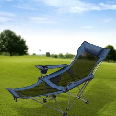 풋레스트 각도조절 접이식 캠핑의자(메쉬+블루)