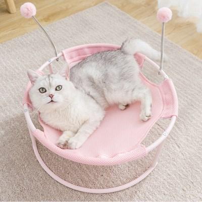 폼폼 스프링 고양이 해먹침대(핑크)
