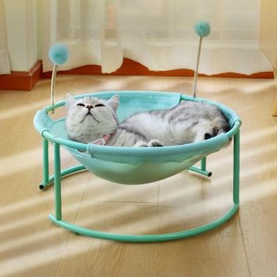 폼폼 스프링 고양이 해먹침대(민트)