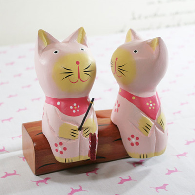 귀여운 낚시 커플고양이