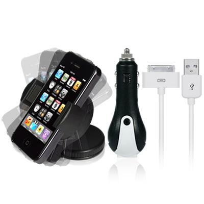 [큐릭] 아이폰3G/4 차량용거치대 & 충전세트 (USB케이블+시거잭)
