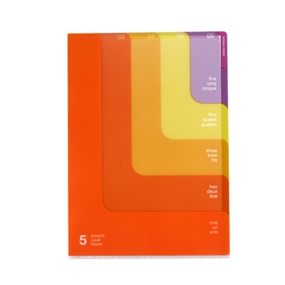 5 Pocket Clear Folder A4 - 2way Orange