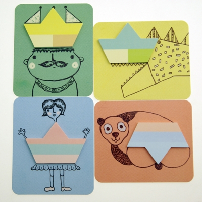 sticky paper(king, girl, panda, dinosaur)