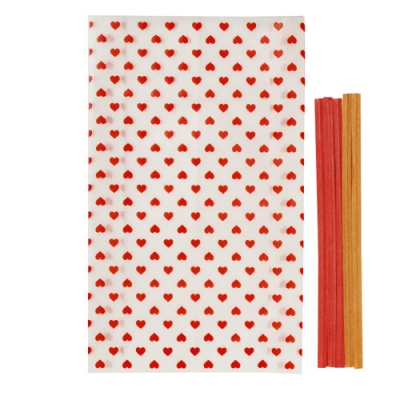 Glassine heart bag (5pcs set)