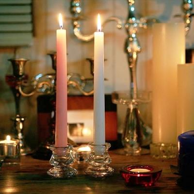 [홈앤하우스] 유리 촛대 2개 화이트글래스 테이퍼 양초용