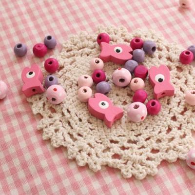 핑크물고기나무비즈set_100p