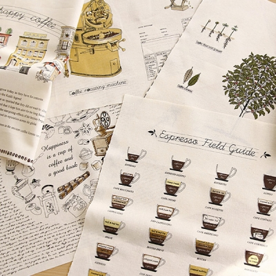 [Fabric]My Cafe House 5in1 illust cut Linen