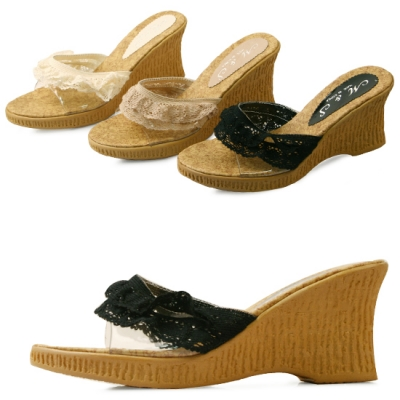 국내생산 Layered lace wedge mule_KM13s415