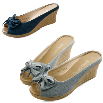 Denim ribbon wedge mule_KM13s453