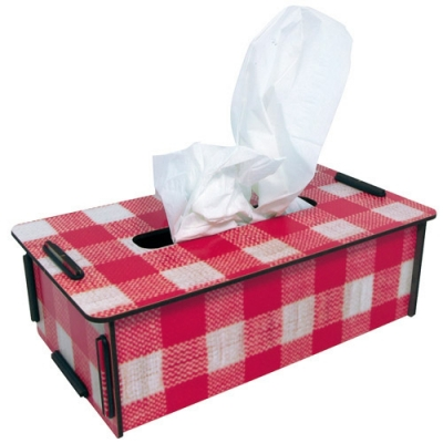 Tissue box-red check