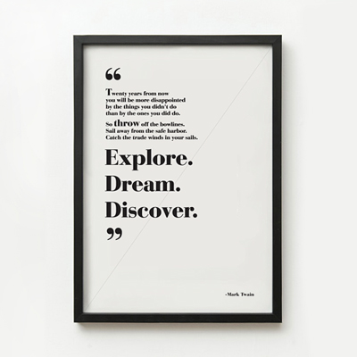 Explore. Dream. Discover. 타이포 액자 _액자포함