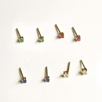 10k gold small color cubic earring