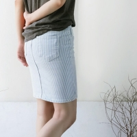 Cloudy striped denim skirt