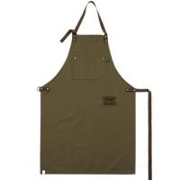 #AA1415 canvas suede leather apron (Khaki)