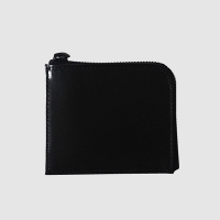 Leather Round wallet - All black