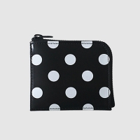 Leather Round wallet - Dot Black
