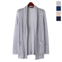 Open Knitting Shawl Collar Cardigan