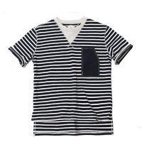 #AT1558 W stripe T shirts (Navy)