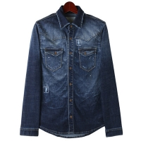Washing Crinkle Denim Shirts