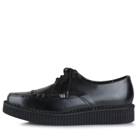 [T.U.K] A8533 Black Leather Lace Up Pointed Creeper