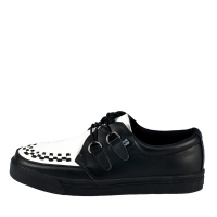 [T.U.K] A6092 Black and White Leather 2-Ring Sneaker
