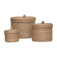 LJUSNAN Box with lid, set of 3, seagrass 501.728.81 라탄수납함