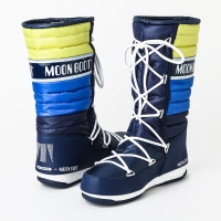 MOON BOOT W.E. QUILTED - NAVY/ACID GREEN